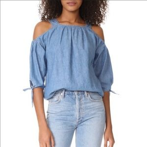 MADEWELL Chambray Cold Shoulder Blouse